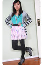 Parisian-junior-boots-turquoise-knit-sweater-skirt-striped-cardigan