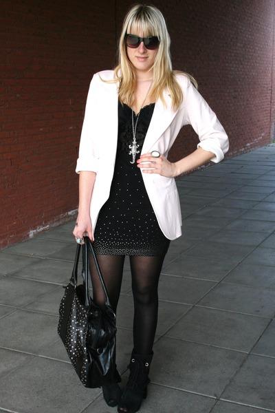 new look blazer - H&M skirt - pieces purse