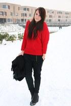 red Takko sweater - black Vila pants