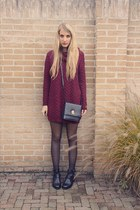 black vintage bag - black cut out boots Sacha boots - brick red H&M dress