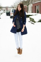 navy H&M coat - light blue Only jeans - light brown Zara shoes