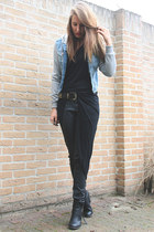 black Nelly shoes - heather gray H&M sweater - black Zara top