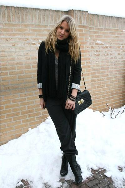 gray Primark pants - black Primark blazer - silver Zara t-shirt - black Primark