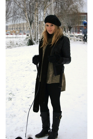 black jacket - green H&amp;M shirt - black pieces boots - black H&amp;M hat