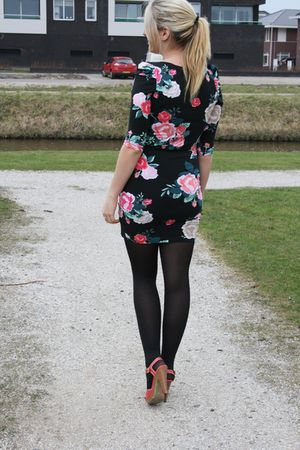 red Primark shoes - black flower dress h&m dress