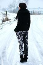 purple hm pants - black Zara coat