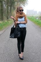 tawny pieces scarf - sky blue H&M blouse - tawny Vero Moda cardigan