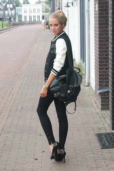 black baseball H&M jacket - black Zara jeans - black backpack vintage bag