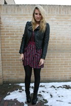 red Zara dress - black H&M jacket