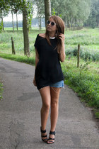 black Zara top - sky blue vintage DIY cut off shorts - black H&M heels