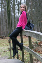 hot pink H&M sweater - black Primark boots - black vintage bag