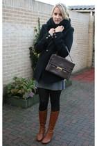 vintage purse - vintage blazer - H&M dress - Sacha boots - Vero Moda scarf