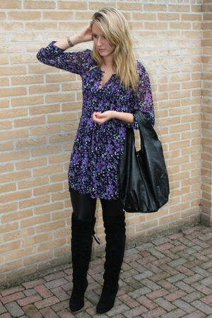 Vero-Moda dress - Vila leggings - Sacha boots - H&amp;M purse