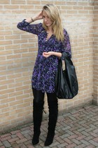 Vero-Moda dress - Vila leggings - Sacha boots - H&M purse