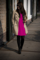 hot pink Satara dress - camel Zara coat - black Primark wedges