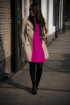 hot pink Satara dress - camel Zara coat - black Primark wedges