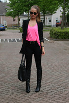 black van haren boots - black H&M blazer - black pieces bag