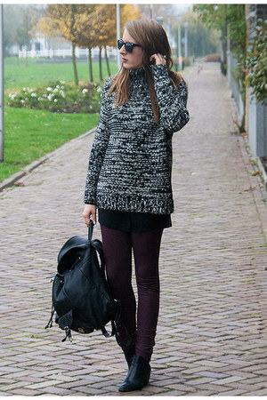black Zara sweater - black H&M shoes - crimson Primark leggings