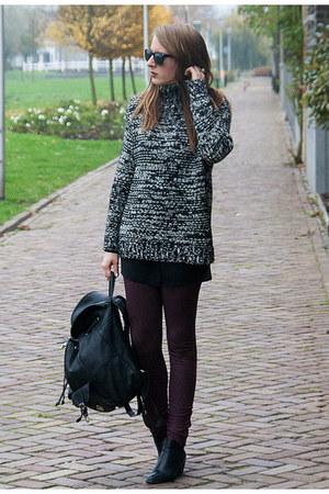 black Zara sweater - black H&M shoes - crimson Primark leggings