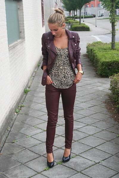 crimson burgundy jeans H&M jeans - crimson H&M jacket