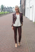 brick red leather H&M jacket - brick red H&M jeans - bronze H&M top