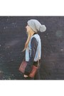 Dark-gray-denim-pieces-jeans-heather-gray-beanie-primark-hat