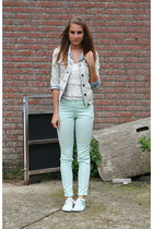 aquamarine H&M jeans - aquamarine Scapino shoes - light blue Primark jacket