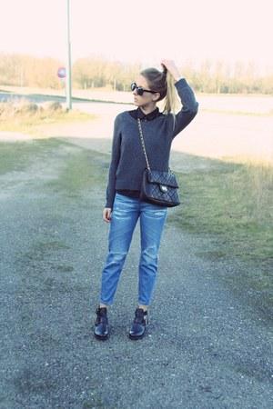 blue boyfriend jeans Primark jeans - black cut out boots Sacha boots