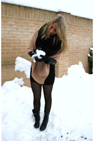 pink pieces vest - black H&M dress - H&M jacket - black vintage boots