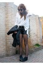 H&M blouse - Bershka shorts - primark belt belt