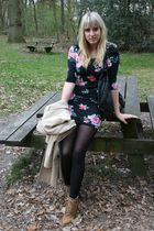 zara trench-coat coat - black H&M dress - Zara shoes - Bershka purse