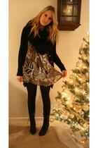 brown Vero Moda blouse - black Zara vest - black vintage boots - black H&M scarf