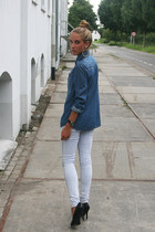 denim pieces jeans - denim H&M blouse - chic black van haren pumps
