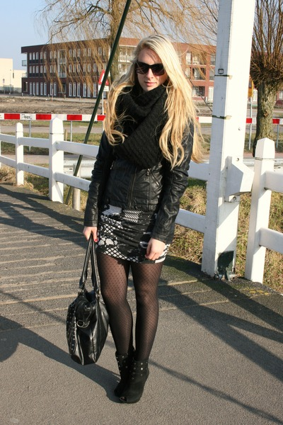 white H&M dress - black Primark jacket - black New Yorker boots - black pieces p