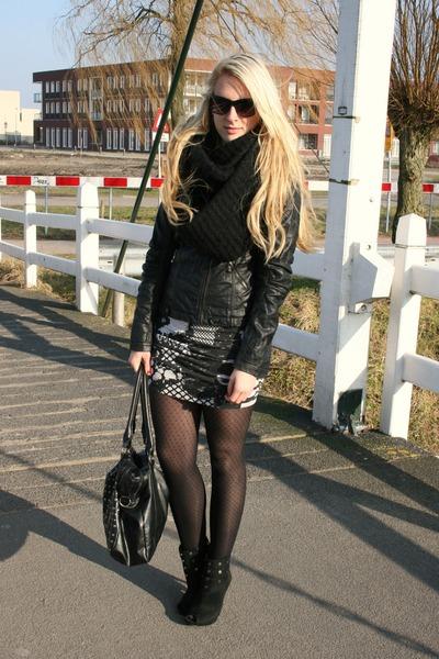 white H&M dress - black Primark jacket - black New Yorker boots - black pieces p