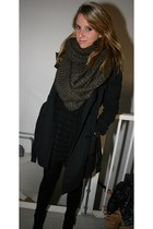 H&M scarf - Vero Moda coat - H&M dress - pieces leggings - Zara boots
