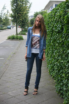 blue H&M jeans - navy H&M blouse - neutral beatles H&M top - black H&M heels