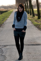black Monki shoes - heather gray vintage sweater - black Bershka shorts - black