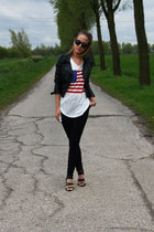 ivory Nancy Mode top - black Zara jeans - black H&M jacket - black H&M heels