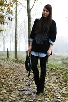 black Camilla Norrback sweater - blue H&M blouse