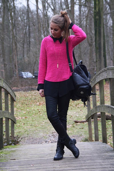 84c07b4c5d76 hot pink H M sweater - black Primark boots - black backpack bag