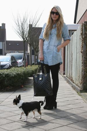 blue Primark dress - black Primark purse - black H&M boots