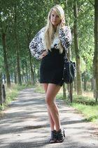 black H&M skirt - white H&M Fashion against Aids top - black Zara bag - black Za
