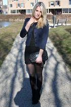 blue H&M jacket - black dress