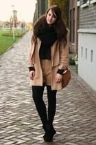 camel vintage coat - black Primark boots - tawny Primark bag