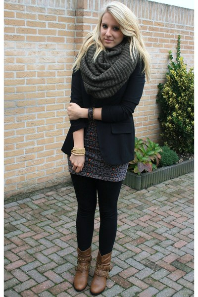 Primark boots - Primark blazer - H&M scarf - Vero Moda dress