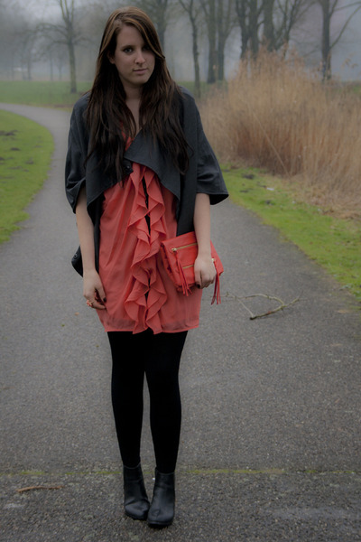 black H&M shoes - orange orange-reddish H&M dress - gray Charlotte Kan jacket -