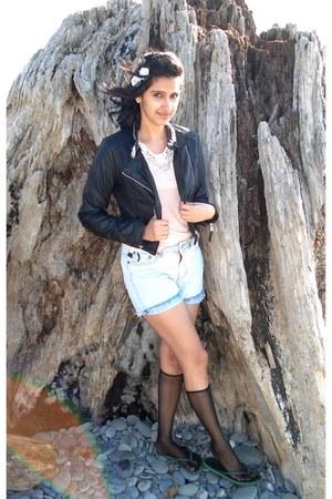 periwinkle denim shorts vintage shorts - black hm jacket