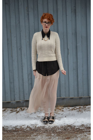 black shoes - ivory sweater - black sheer blouse - neutral sheer maxi skirt