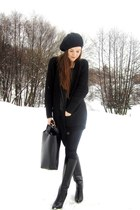 knit sweater - diy hat - leather bag